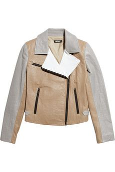 DKNY color-block leather jacket.