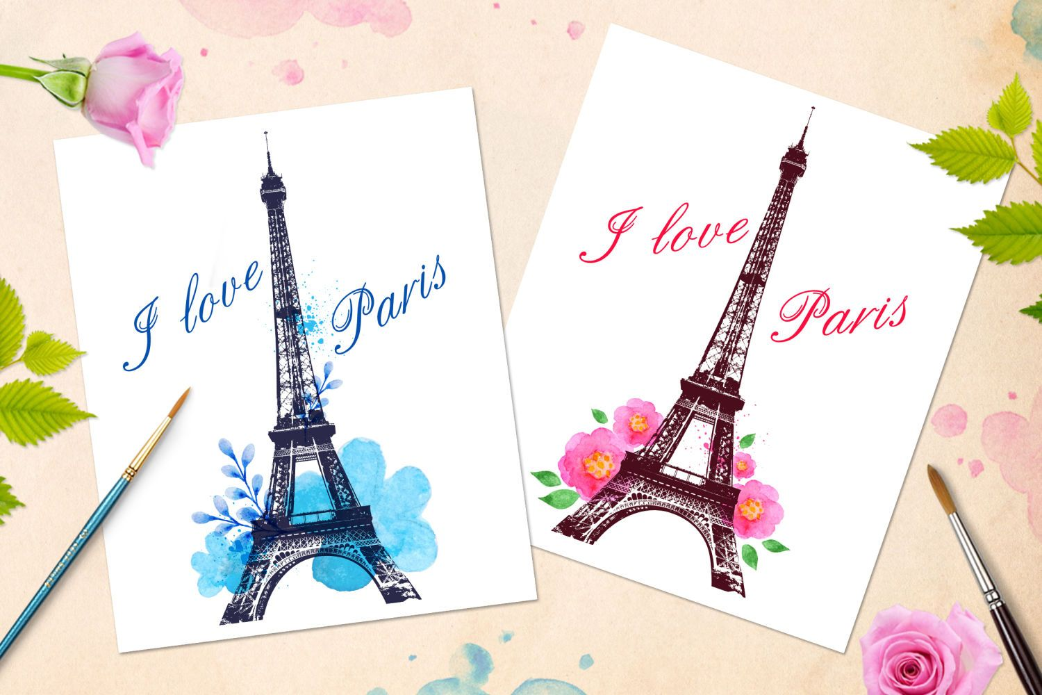 Romantic Background With Paris By Artness On In 2020 Watercolor