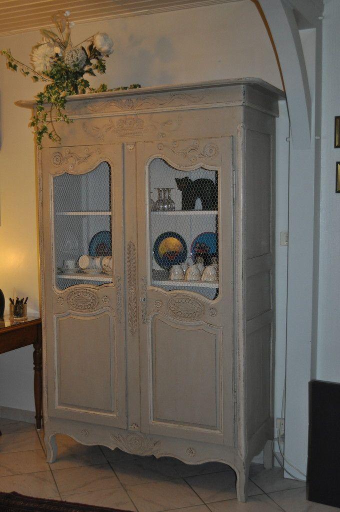 armoire Louis XV Patine gris gustavien tres shabby chic ! par les
