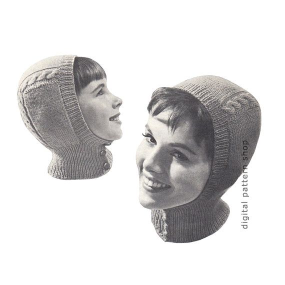 Hat Knitting Pattern Vintage Helmet Pattern Knit Balaclava Winter ...