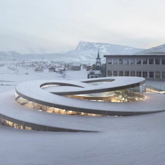 Maison des Fondateurs designed by Danish architect Bjarke Ingels. | Audemars Piguet, Concept, Big Design, Urban Design, Big Architects, Link, Spiral, Contemporary Architecture, Swiss Switzerland