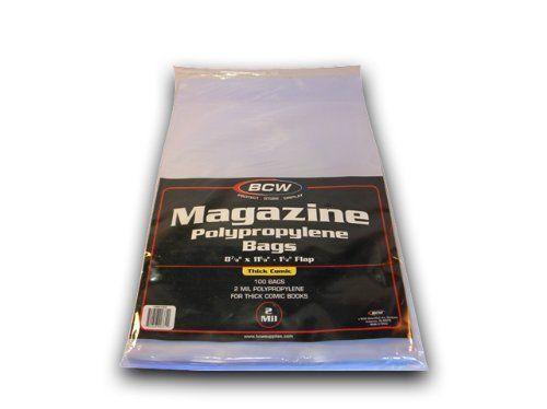 THICK 8 7//8 X 11 1//8 200 BCW MAGAZINE BAGS