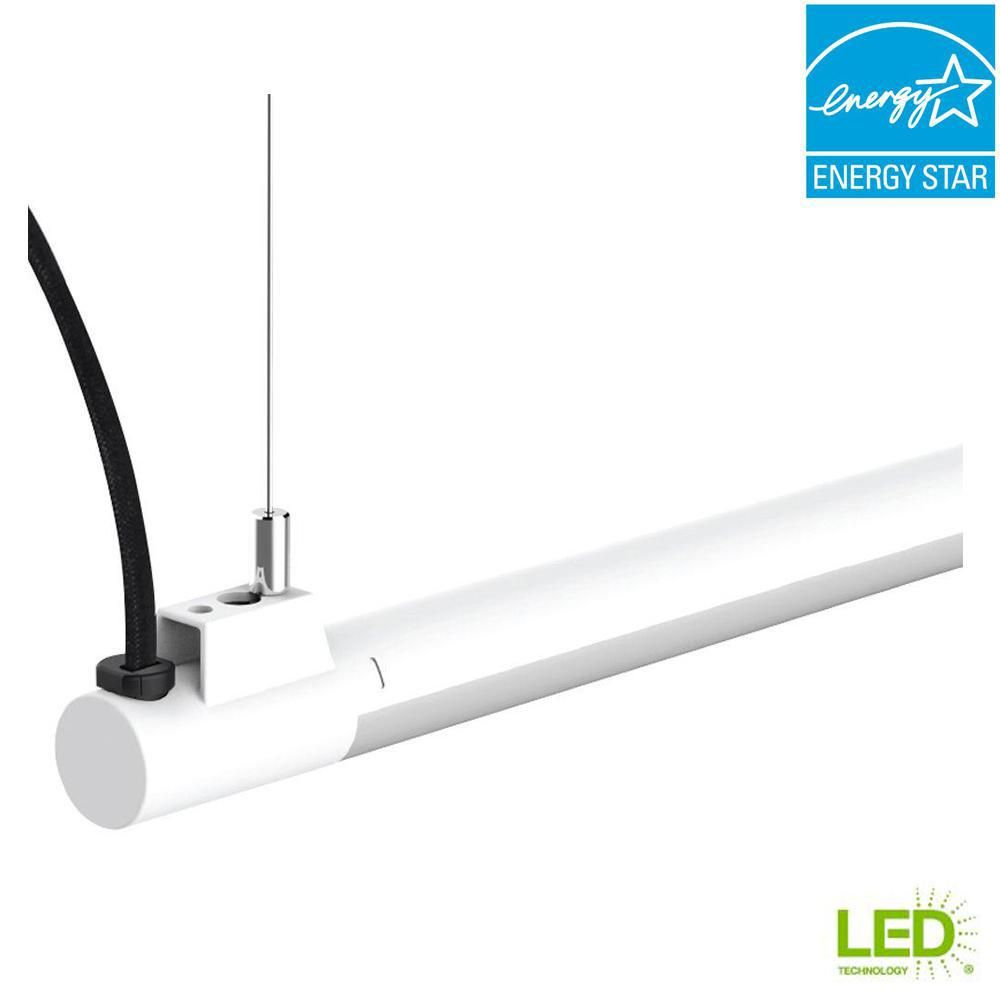 4ft Led Shop Light >> Commercial Electric 4 Ft 1 Light 19 Watt White Integrated Utility