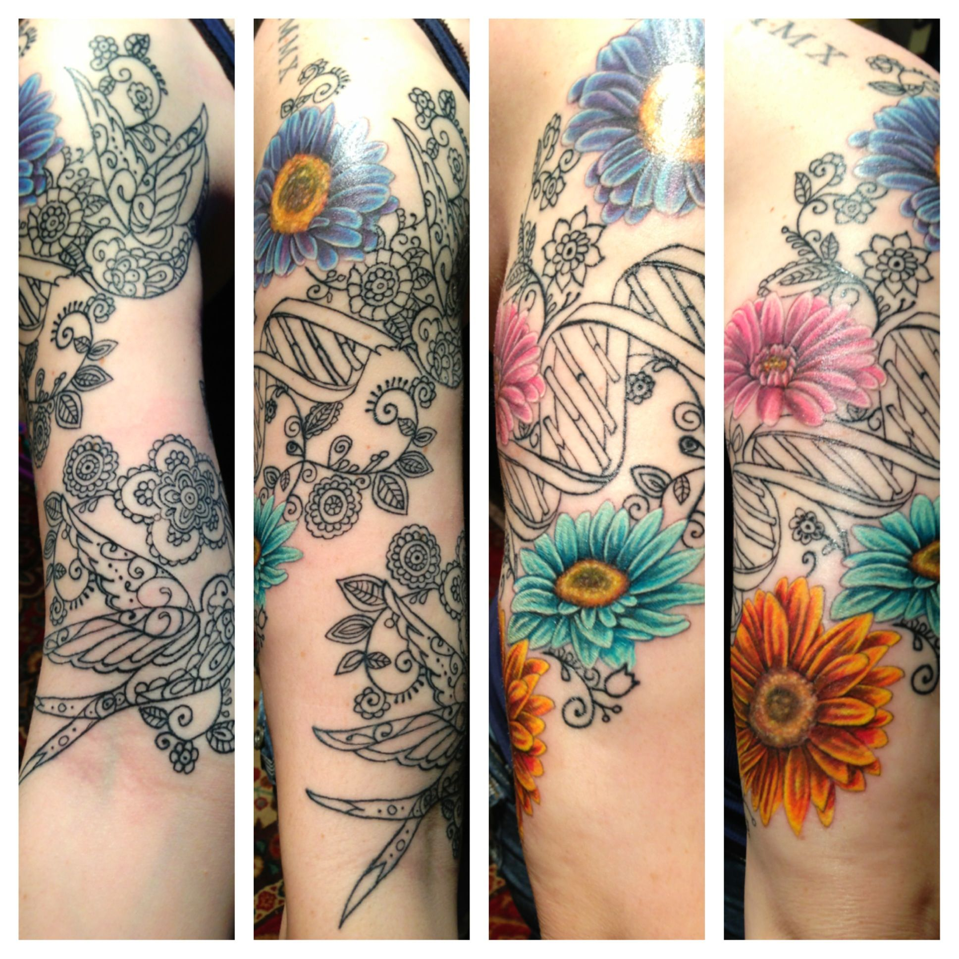 Half sleeve Sparrows, DNA, && Daisies. Artist Jaqui