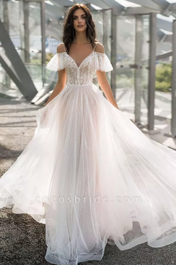 Glorious Cold Shoulder Chapel Train Wedding Dress Cold Shoulder Wedding Dress Wedding Dress Train Ball Gowns Wedding