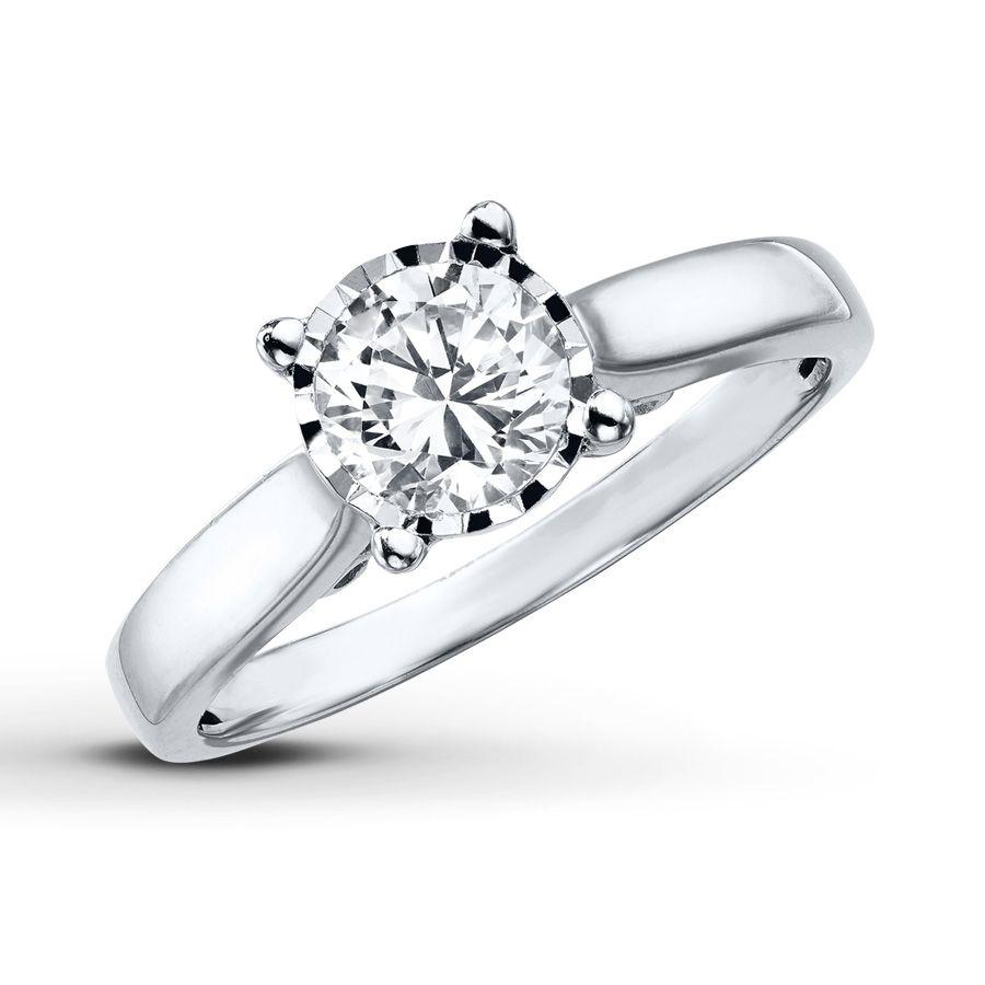Radiant Reflections Diamond Ring 1 Ct Tw 14k White Gold: Radiant Reflections Ring 3/4 Carat Diamond 10K White Gold