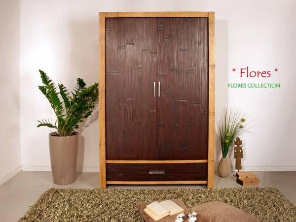 Bambus Kleiderschrank Flores 2 Türen Bambusmöbel für Dein - großer kleiderschrank schlafzimmer