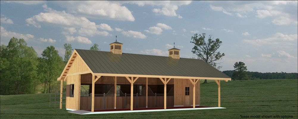 Small 4stall barn horse barn and stable designs equine for Horse stable blueprints