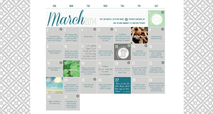 March Activity Calendar for Mothers of Preschoolers from MOPSorg - activity calendar