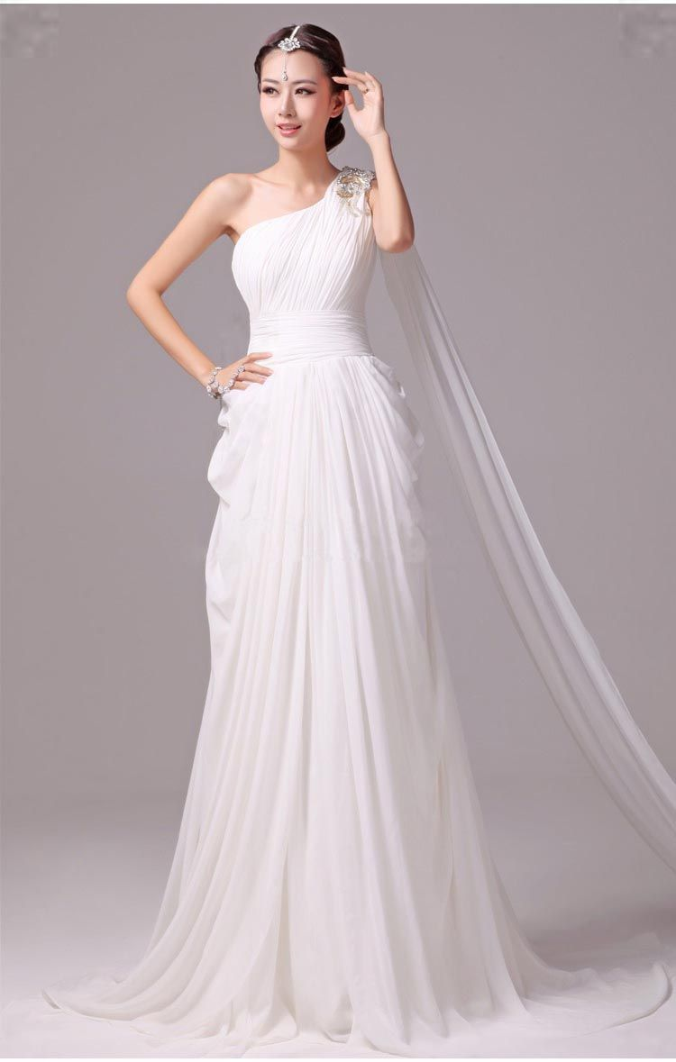 Elegant Greek Goddess Chiffon Beaded One Shoulder Wedding Dress