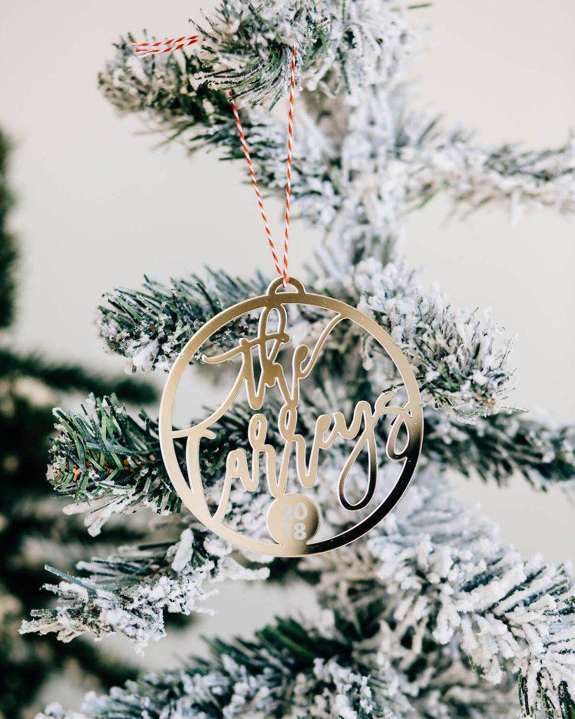 Custom Christmas Gifts.Joyful Round Custom Name Christmas Ornament Acrylic Or Wood