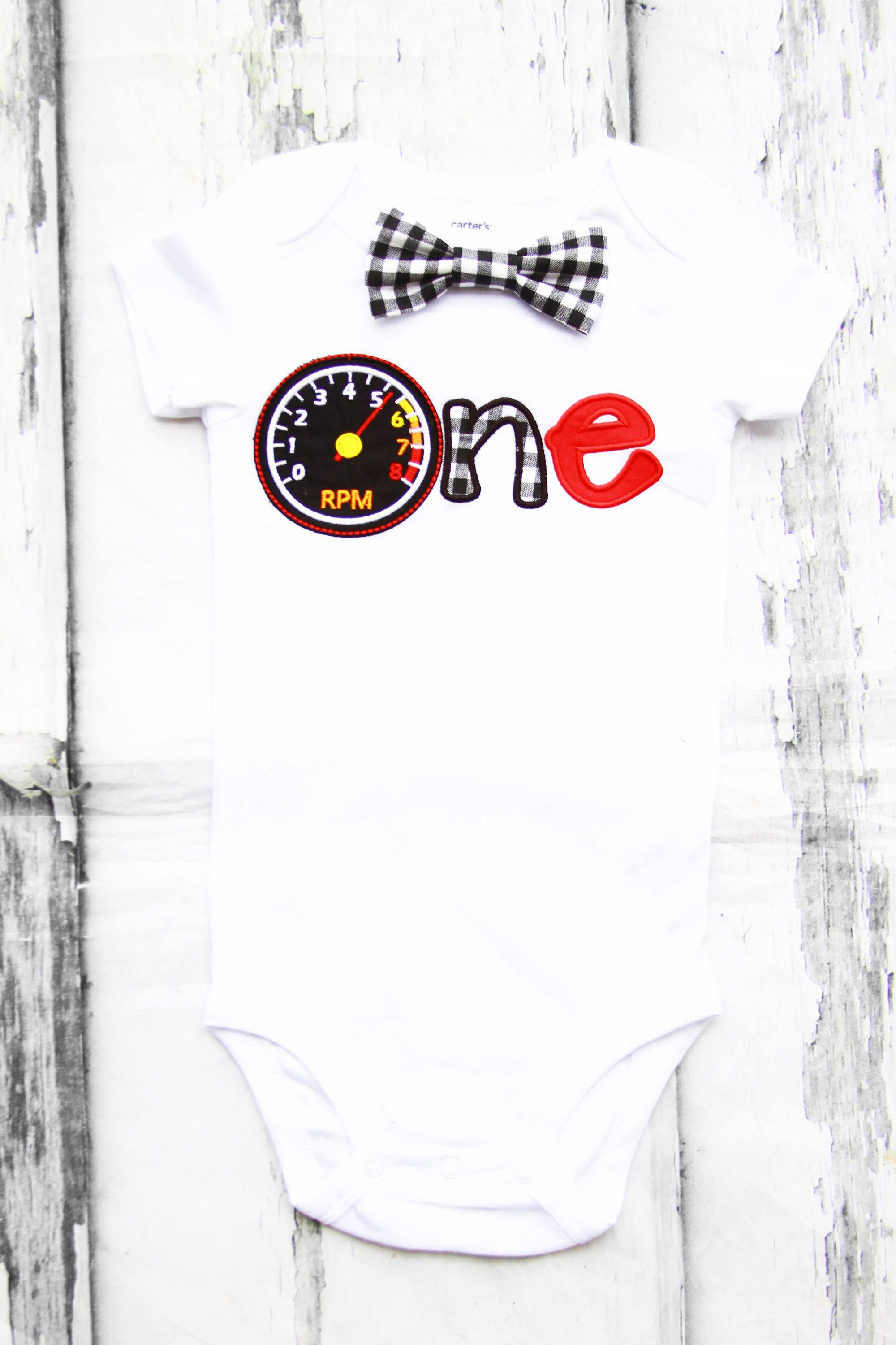 6a873d3e60710 Baby boy first birthday tachometer ONE cake smash outfit boy little gauge 1st  birthday race car one year bow tie onesie birthday shirt by ...