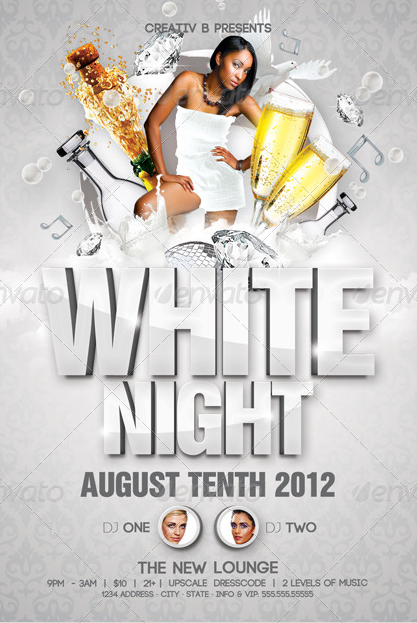 Free All White Party Flyer Template Acurnamedia