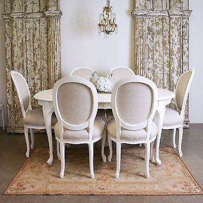 Shabby Cottage Chic 6 White Medallion Dining Chairs Cream Oval Back ...