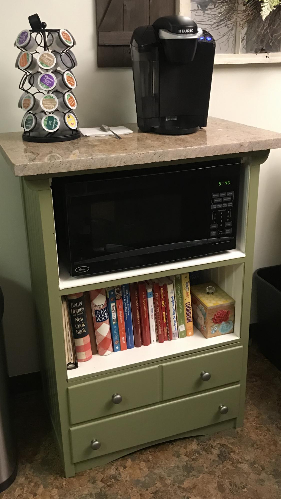 Old Dresser Turned Into Coffee Bar Microwave Stand