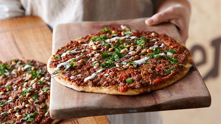 Turkish pizza with spicy mince (lahmacun) recipe  SBS Food
