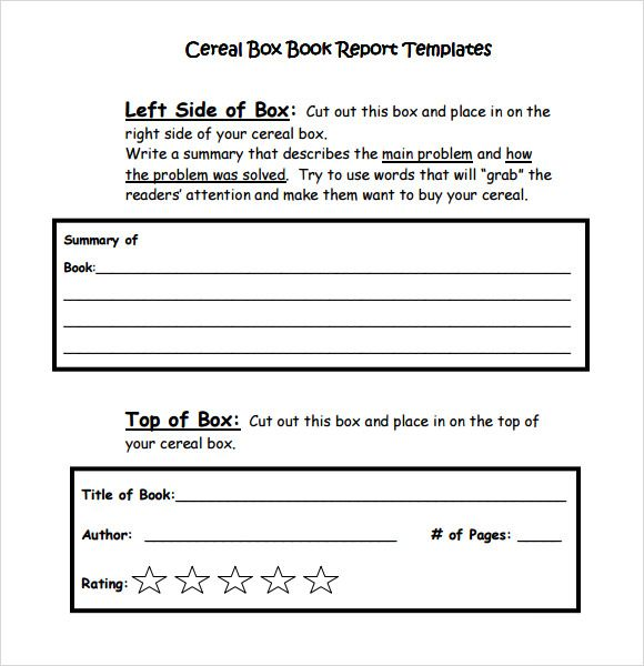 Cereal Box Book Report Template Pdf  Book Report    Book