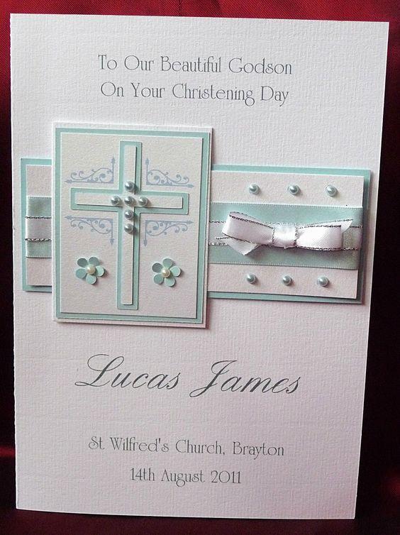 Grandson Godson Baby Boy Personalised Handmade Baptism Card Newborn Son