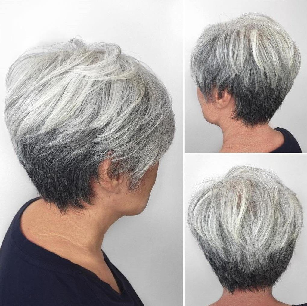 short shaggy spiky edgy pixie cuts and hairstyles gray ombre