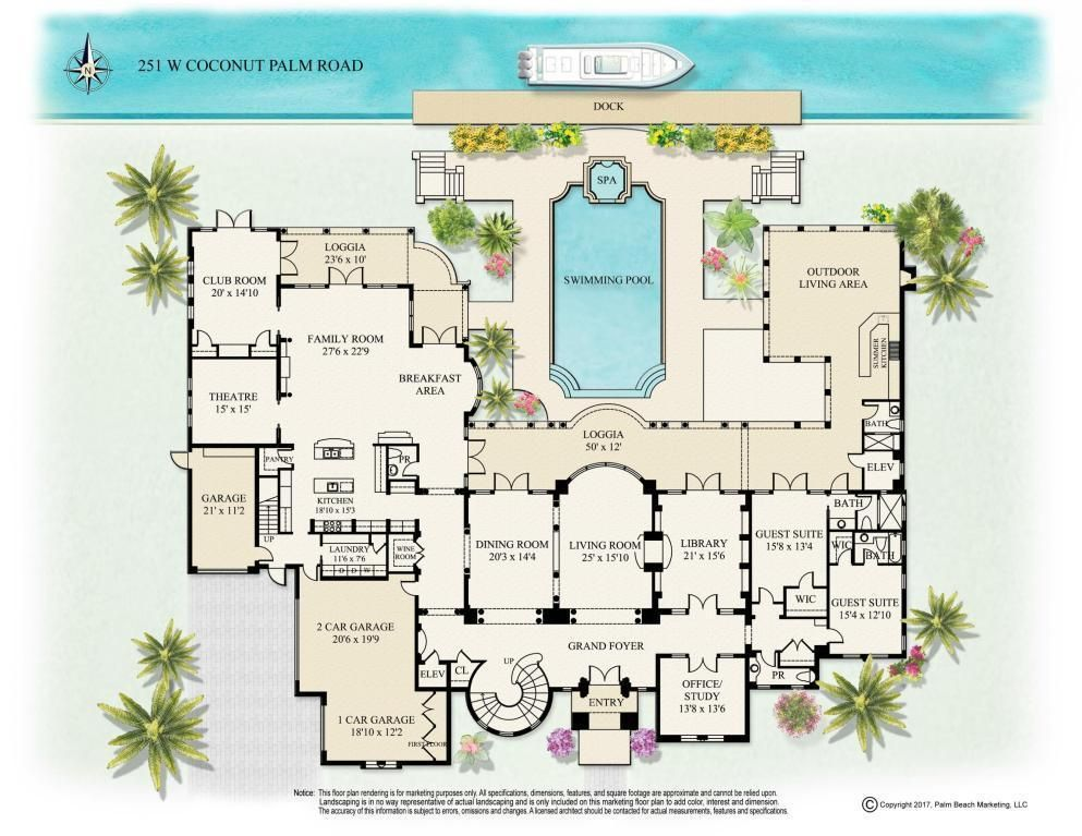 10 312 Square Foot Florida Mansion Main Level Floor Plan Address 251 W Coconut Palm Rd Florida Mansion Floor Plans South Florida Real Estate
