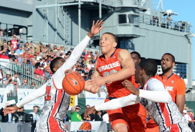 Brandon Triche And The Orange On Board The Decommissioned Aircraft Carrier Uss Midway Vs San Diego Stat San Diego Basketball Syracuse Basketball Basketball