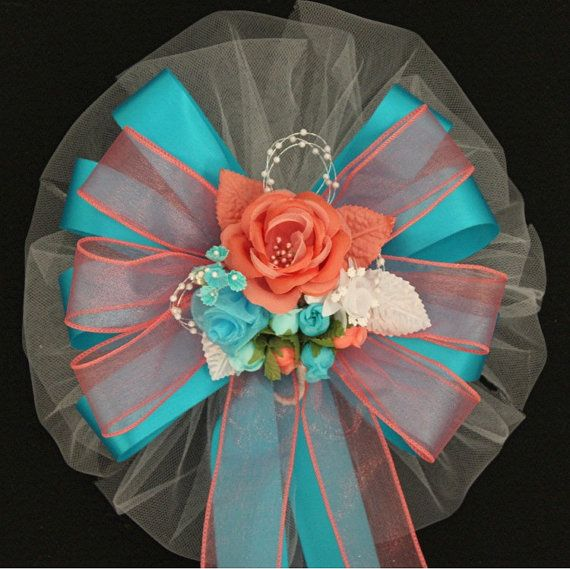 Mint Color Outdoor Ceremony Decorations: Coral Turquoise Rose Floral Wedding Pew Bows