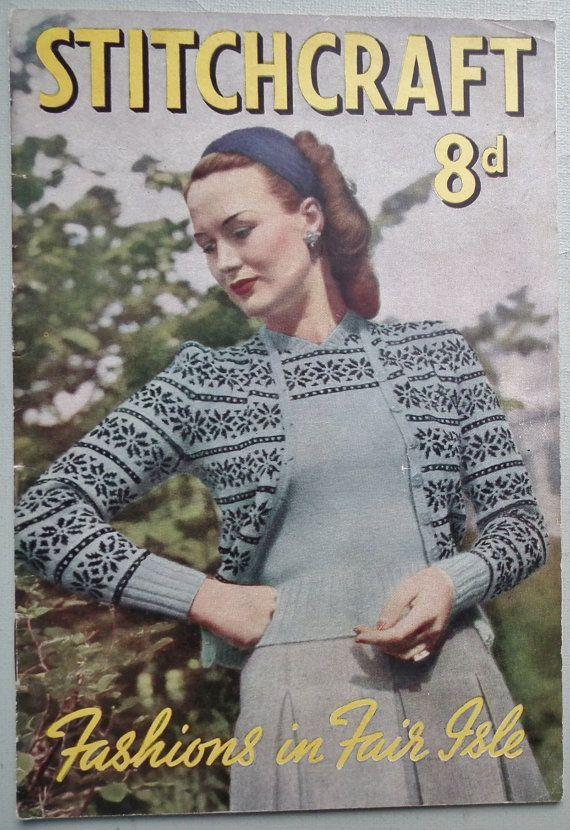 Vintage 1940s Knitting Book Stitchcraft Fashions in Fair Isle ...