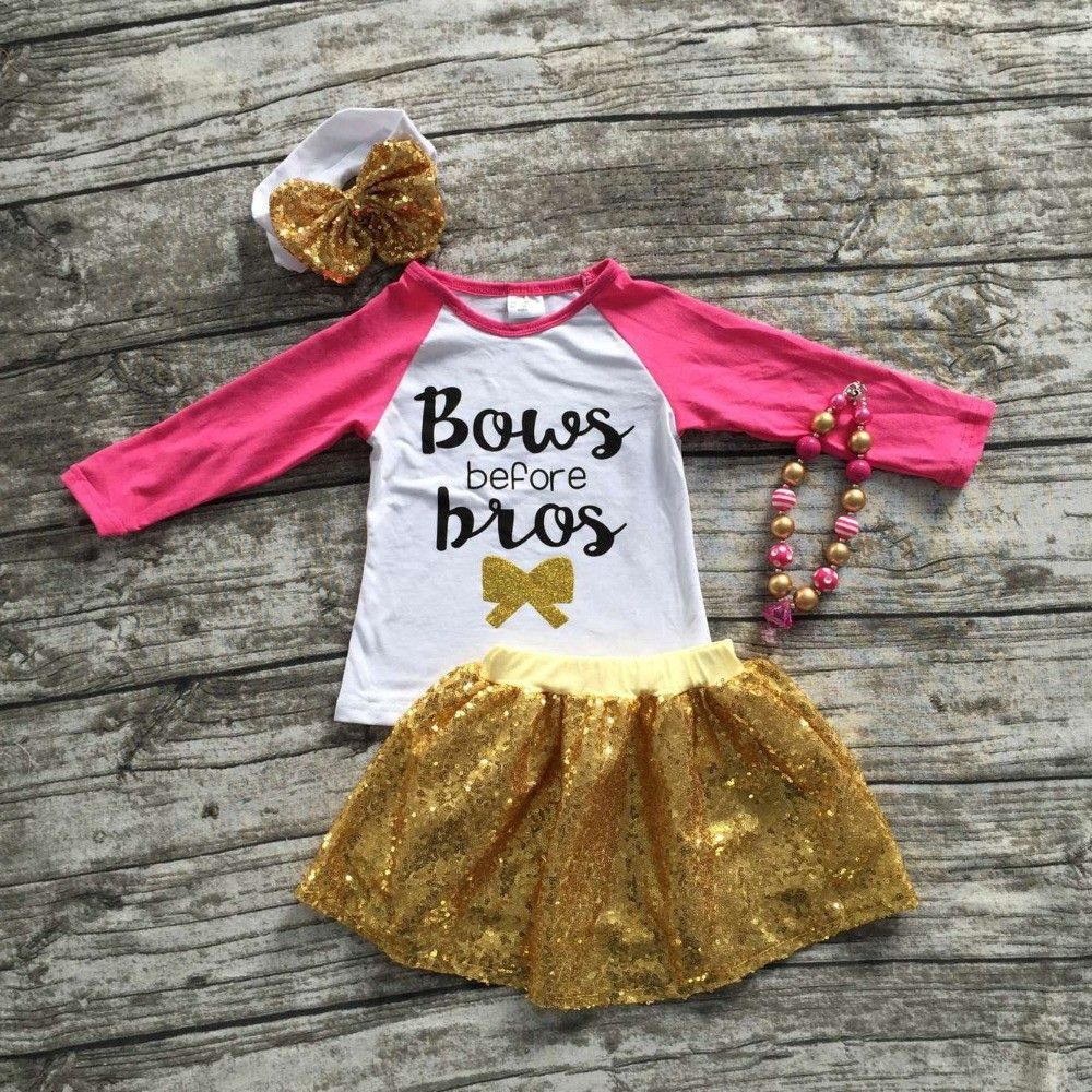 Pink and gold dress for kids   girls clothes baby kids Fall hot pink gold full  Babies