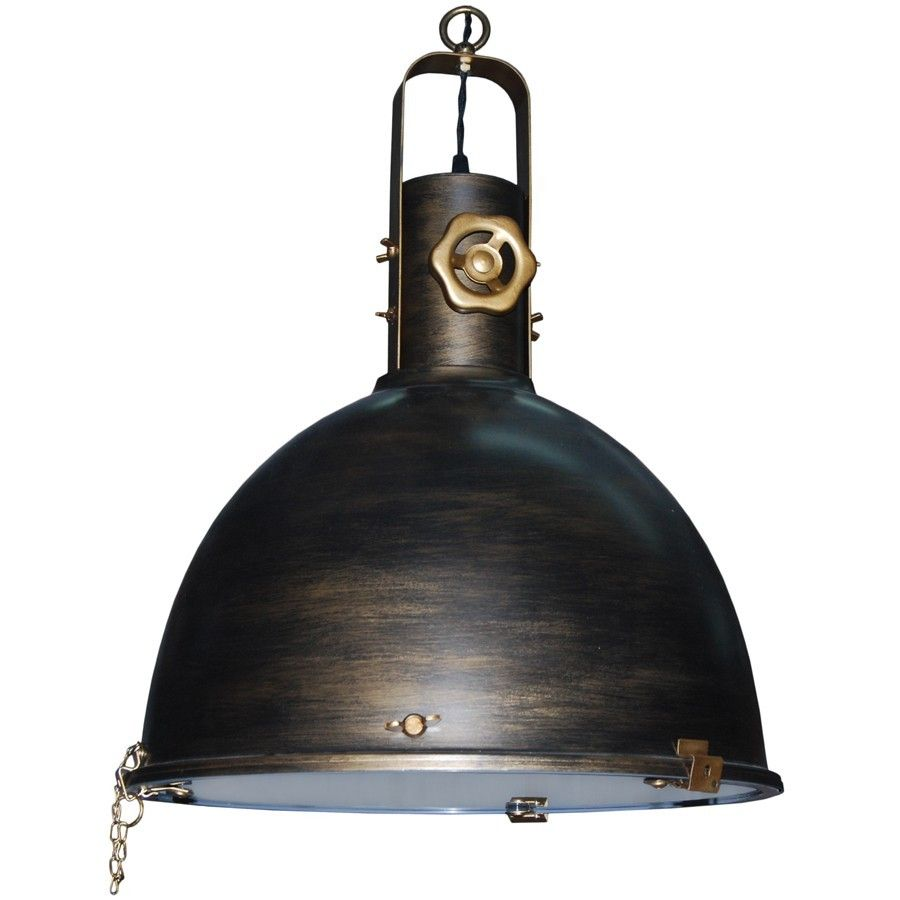 Lampara de techo campana industrial vintage oro viejo - Lampara industrial vintage ...