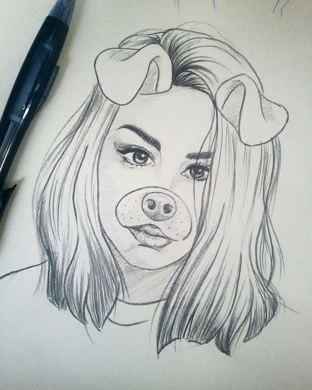 This amazing art belongs to aydaelhajoui puppy filter puppy puppyfilter snapchatfilter girl hair drawing sketch pencil pencildrawing