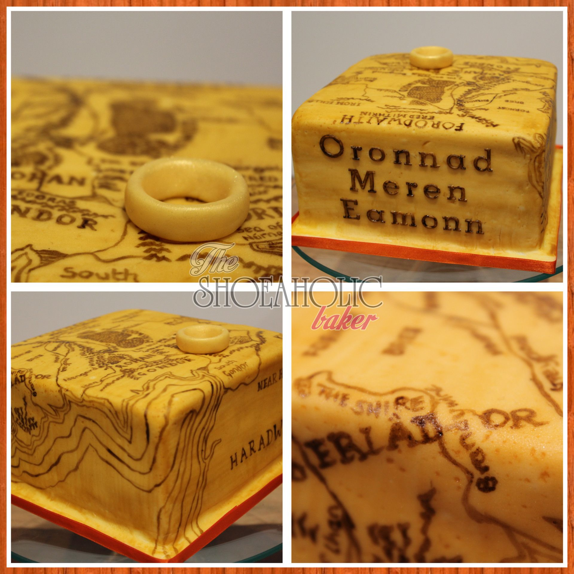 6 Inch Square Lord Of The Rings Cake With Hand Painted Map
