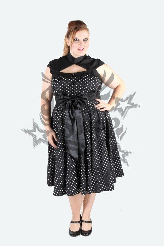 Vestido negro con lunares blancos grandes