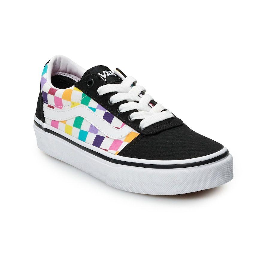 Vans Ward Girls' Rainbow Checkered Skate Shoes, Girl's, Size
