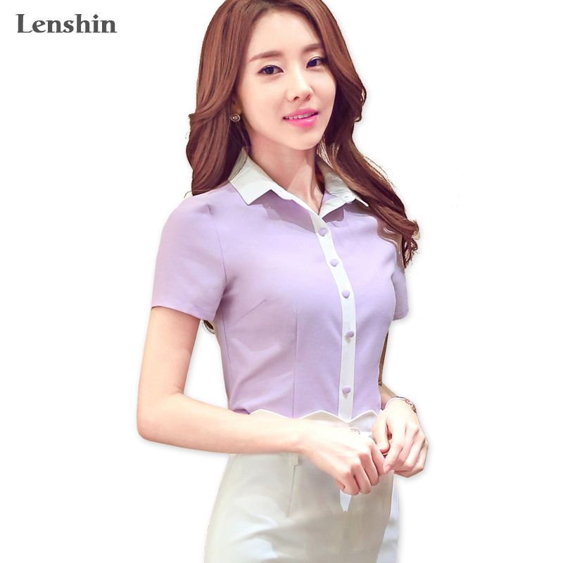 Lenshin Cotton Shirt Casual Style New Fashion Short Sleeve Blouse