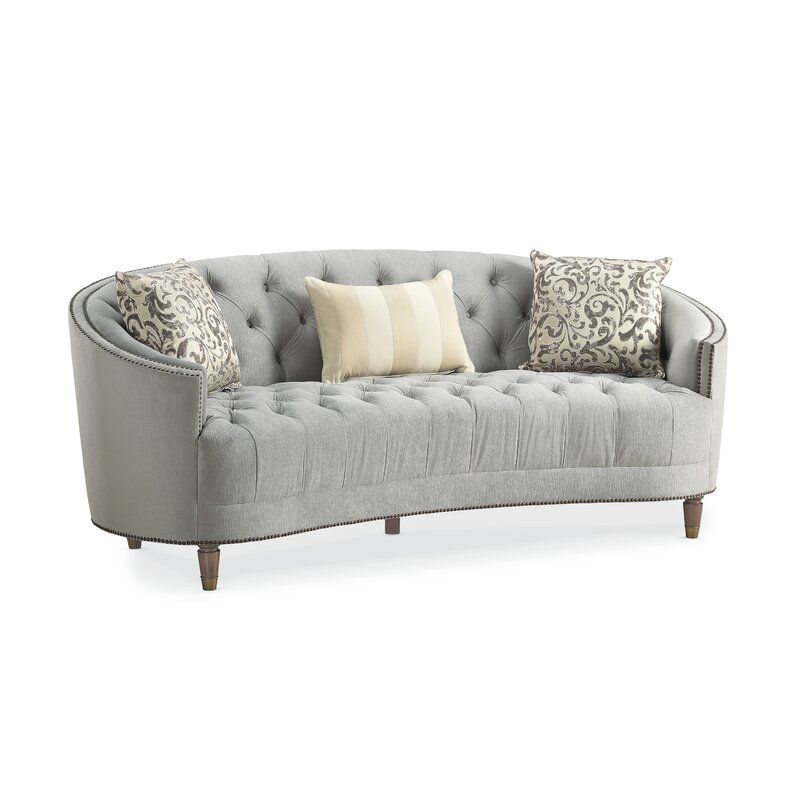 Frederic Chenille Curved 90 Square Arm Sofa In 2020 Curved Sofa Curved Couch Classic Sofa