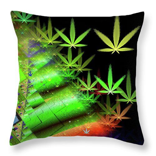 Weed Dreams Throw Pillow Colorful Fractal Art With Marijuana