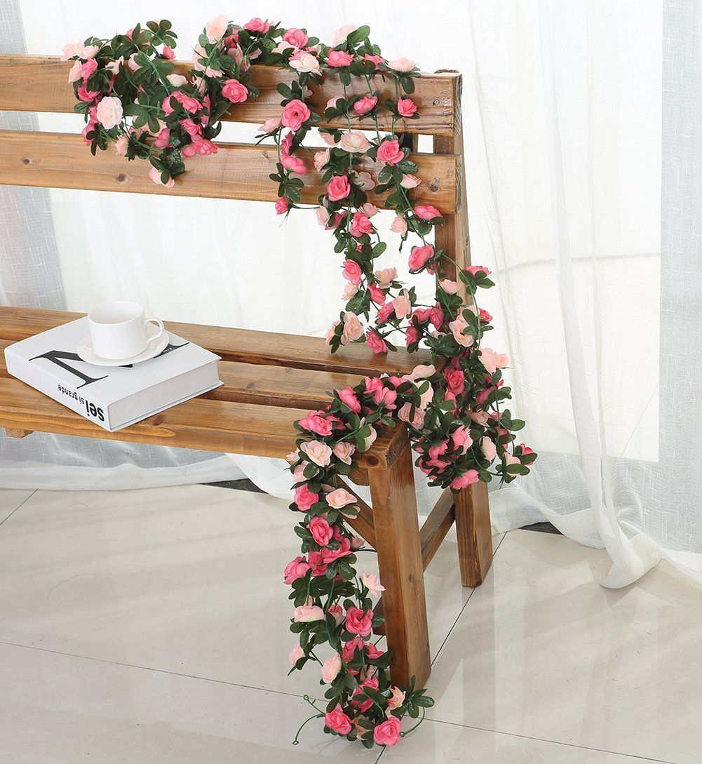 Amazon.com: Miracliy 5 Pack 41 FT Fake Rose Vine Flowers