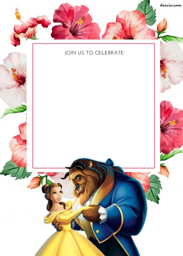 FREE Printable Disney Princess Floral Invitation Template | Drevio ...