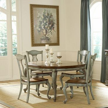 Pulaski Jolie Round Wood Top Dining Table In Hand Painted Aged Finish