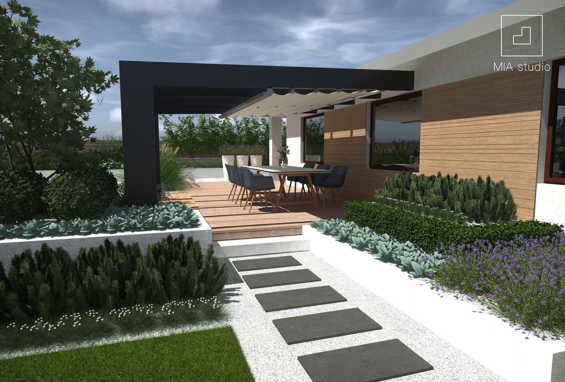 Ogrod Nowoczesny Z Donicami Mia Studio In 2020 Minimalistischer Garten Terrassenpergola Pergola