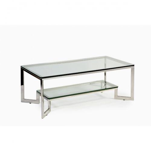 OT-1227-1 Mesa de acero y cristal (130x70x45) diseño de muebles - mesas de centro de diseo