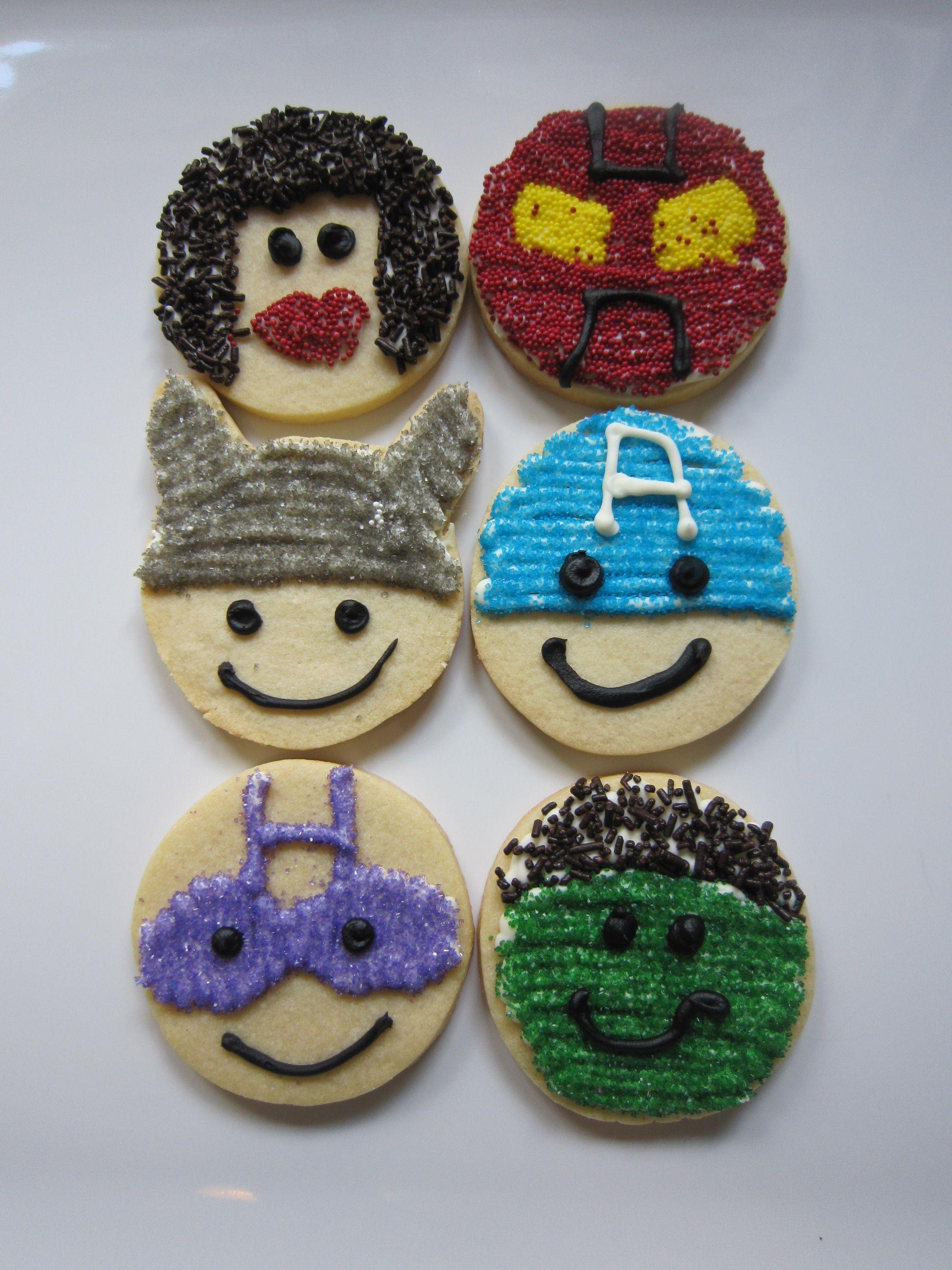 Avengers cut out cookies, Black Widow, Iron Man, Thor, Captain America, Hawkeye and Hulk