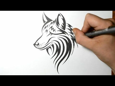 668ea97b4 How to Draw a Wolf Dog - Tribal Tattoo Design Style - YouTube ...