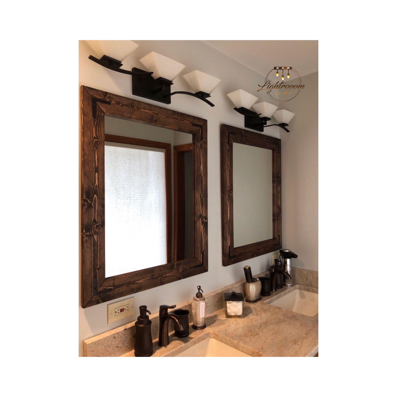 Espresso Wood Framed Mirror Rustic Wood Mirror Bathroom Mirror Wall Mirror Vanity Mirror Small M Wood Framed Mirror Wooden Bathroom Vanity Bathroom Mirror [ 3000 x 3000 Pixel ]