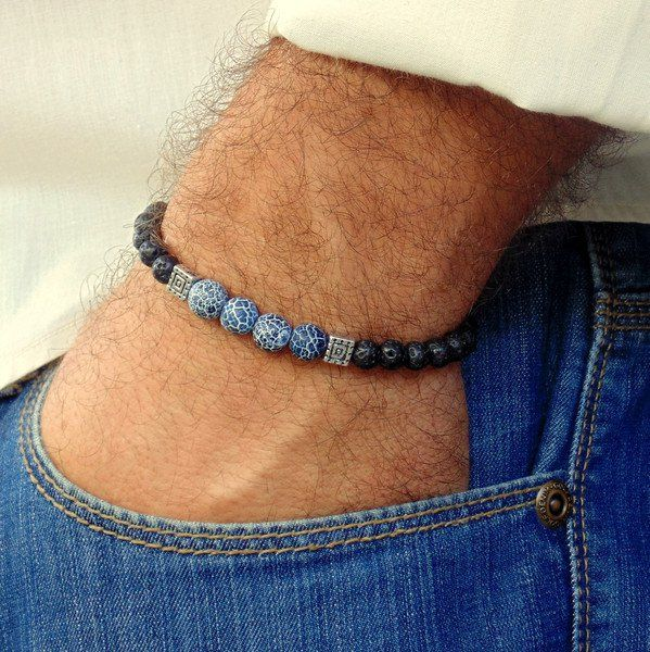 Mens Bracelets Mens Bracelet Lava Stone Bracelete For