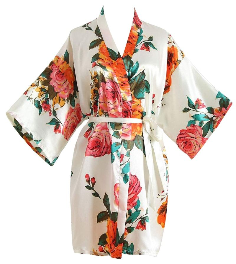 QXQTER Cherry Blossoms Floral Kimono Robe Silk Bridal Party Robes Nightgown for Girls