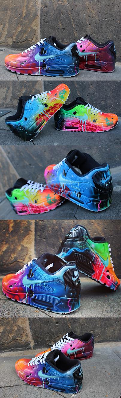 promo code 5ef4a ac331 Nike Air Max 90 Blue Galaxy Style Painted Custom Shoes Sneaker Airbrush  Kicks rare schuhe  UNIKAT