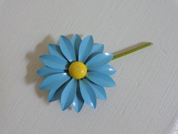 Lovely vintage retro style adjustable green enamel daisy flower ring