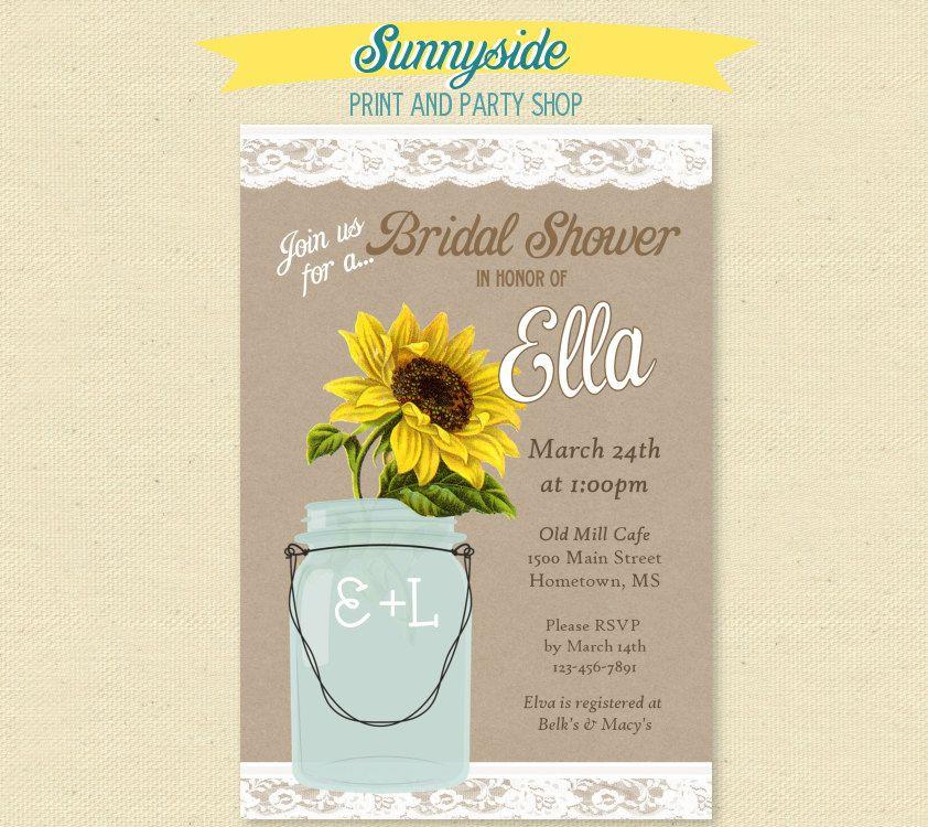 Country Sunflower Mason Jar Invitation Kraft Burlap and Lace