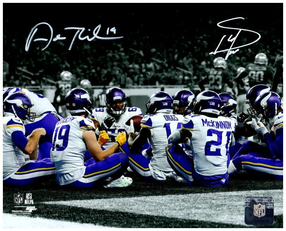 online store 55c94 e2d15 Stefon Diggs and Adam Thielen Autographed Vikings Teams TD ...